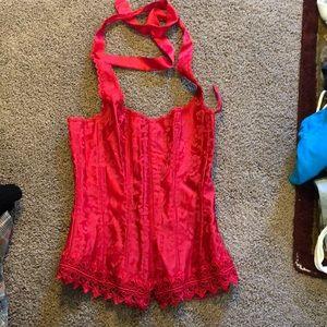Red corset halter bustier